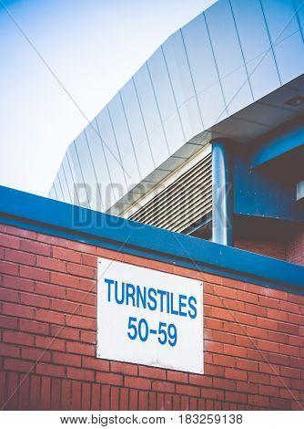 Turnstiles At A Football Stadium In The UK