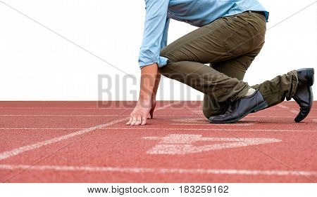 Side view of businessman in action to prepare for running on a treadmill to start business competition, Isolated on white background