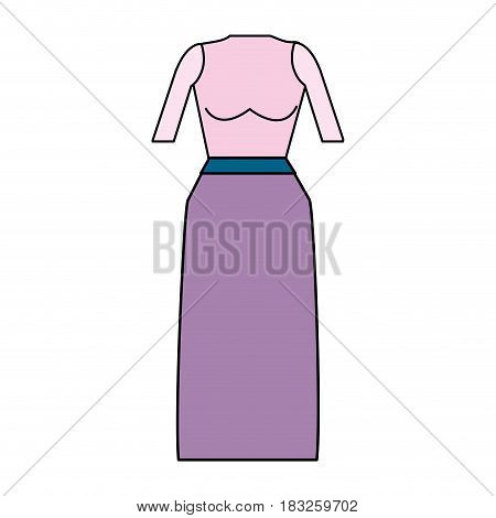 casual blouse and long skirt cloth, vector illustration