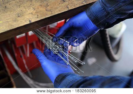 Replacement of brake cable in bicycle brakes. Brake brake repair.