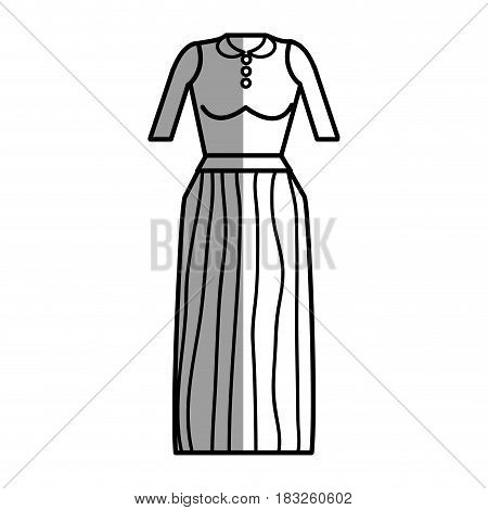 figure casual blouse and long skirt cloth, vector illustration
