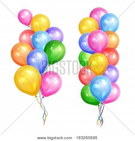 Bunches of colorful helium balloons isolated on white background. Party decorations for birthday anniversary celebration. Vector illustration