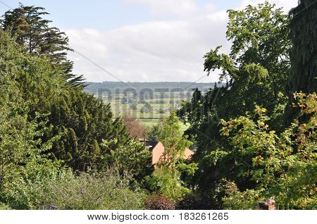 The view from the Chalice Well gardens in Glastonbury, Somerset, England.