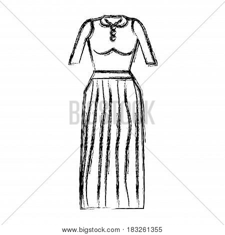 contour casual blouse and long skirt cloth, vector illustration