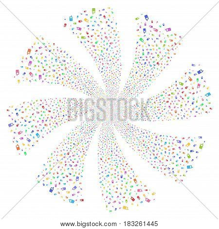 Cell Phone fireworks swirl rotation. Vector illustration style is flat bright multicolored iconic symbols on a white background. Object whirl created from random pictograms.