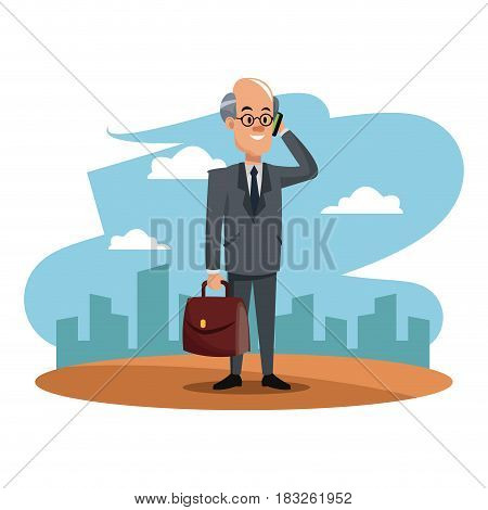 character man business manager with smartphone and portfolio cityscape labor day vector illustration