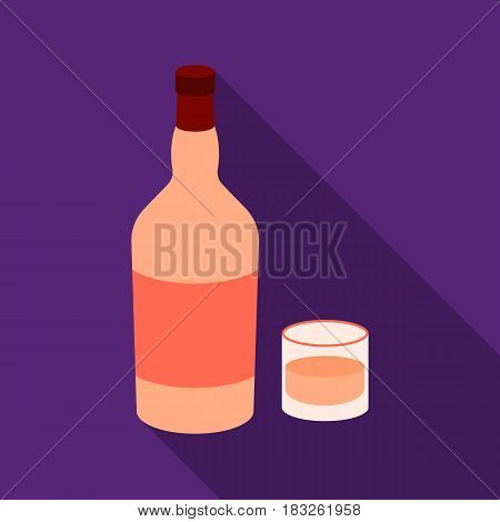 Rum icon in flat style isolated on white background. Alcohol symbol vector illustration.