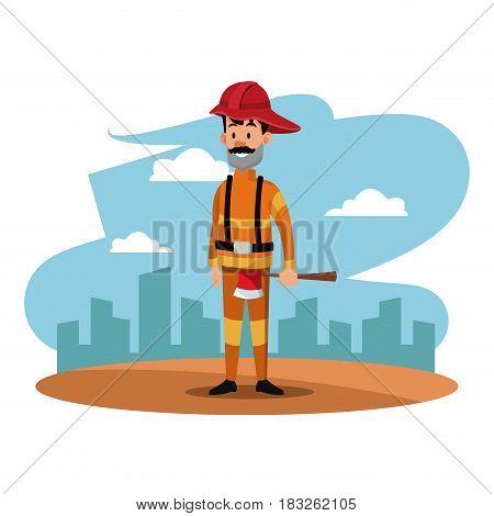 fireman helmet ax uniform cityscape labor day vector illustration