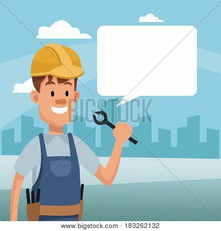 construction man holding tool and bubble speech labor day vector illustration