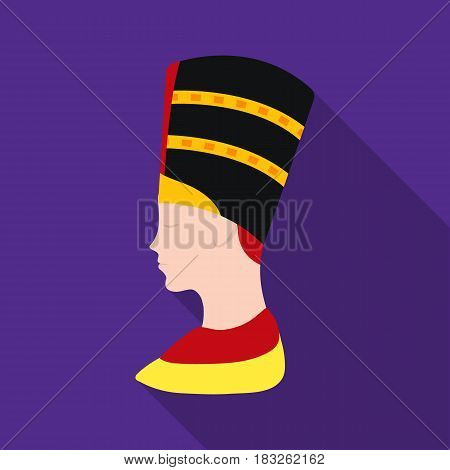 Bust of Nefertiti icon in flat style isolated on white background. Ancient Egypt symbol vector illustration.