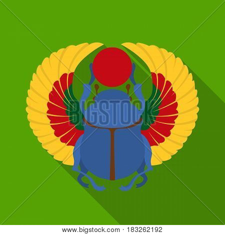 Scarab icon in flat style isolated on white background. Ancient Egypt symbol vector illustration.