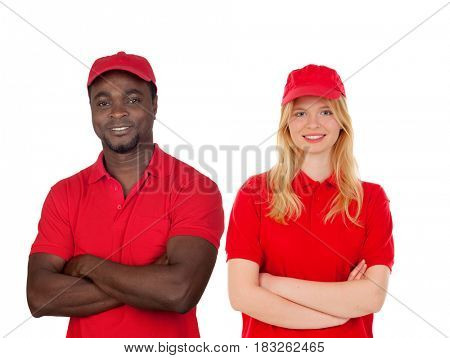 Co-workers with their red uniform isolated on a white background