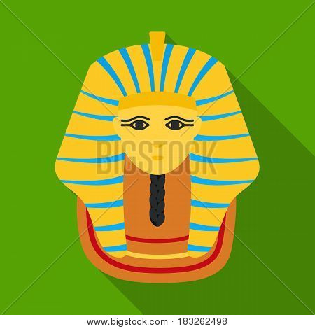 Pharaoh's golden mask icon in flat style isolated on white background. Ancient Egypt symbol vector illustration.