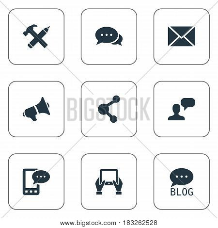 Vector Illustration Set Of Simple Blogging Icons. Elements Man Considering, Site, Notepad And Other Synonyms Phone, Hammer And Notepad.
