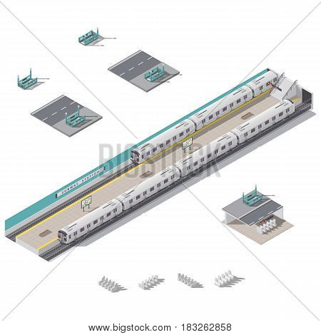 Subway station isometric icon set vector graphic illustration