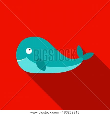 Whale icon flat. Singe animal icon from the big animals flat.
