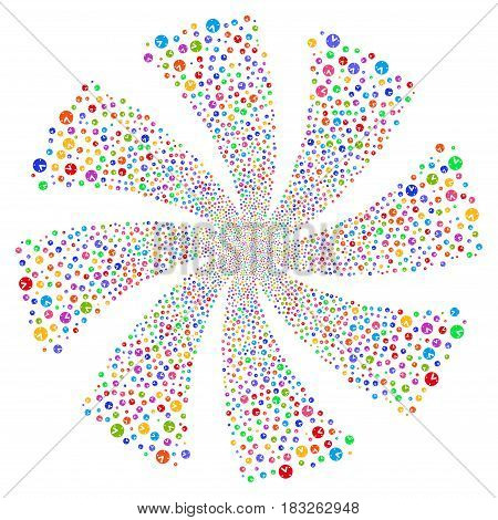 Clock fireworks swirl rotation. Vector illustration style is flat bright multicolored iconic symbols on a white background. Object twirl done from random pictograms.