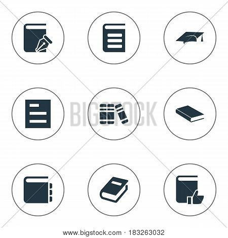 Vector Illustration Set Of Simple Reading Icons. Elements Encyclopedia, Journal, Bookshelf And Other Synonyms Notebook, Encyclopedia And Favored.