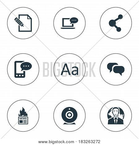Vector Illustration Set Of Simple Blogging Icons. Elements International Businessman, Broadcast, Gazette And Other Synonyms Contract, Broadcast And Network.