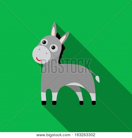 Donkey icon flat. Singe animal icon from the big animals monochrom Stock vector