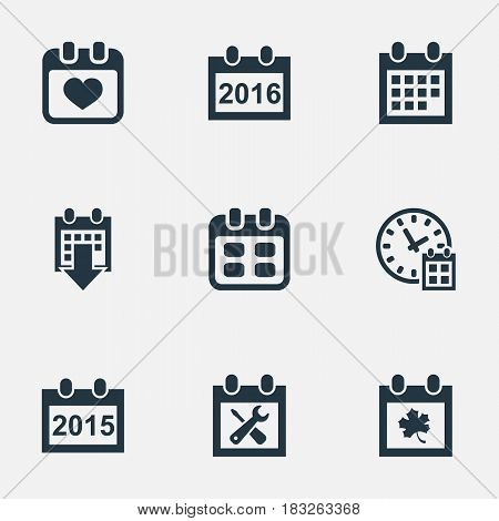 Vector Illustration Set Of Simple Plan Icons. Elements Annual, History, Deadline And Other Synonyms Leaf, Agenda And Date.