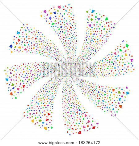 Component fireworks swirl rotation. Vector illustration style is flat bright multicolored iconic symbols on a white background. Object whirl created from random pictograms.