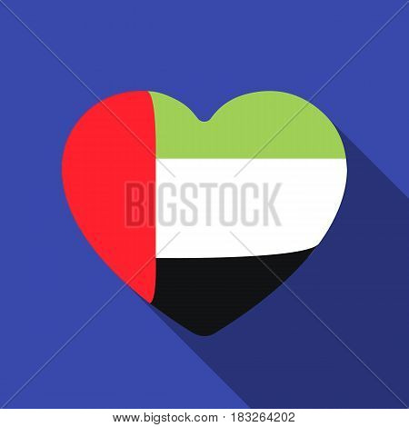 United Arab Emirates heart icon in flat style isolated on white background. Arab Emirates symbol vector illustration.