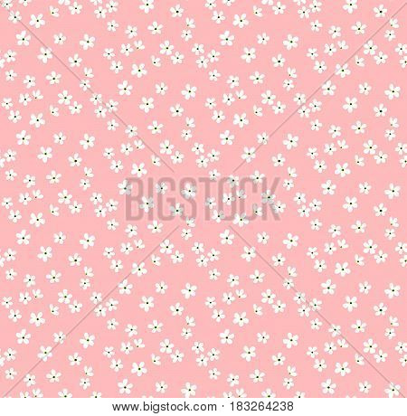 Floral pattern. Pretty flowers on pink backgroung. Printing with Small-scale white flowers. Ditsy print. Seamless vector texture. Spring bouquet.