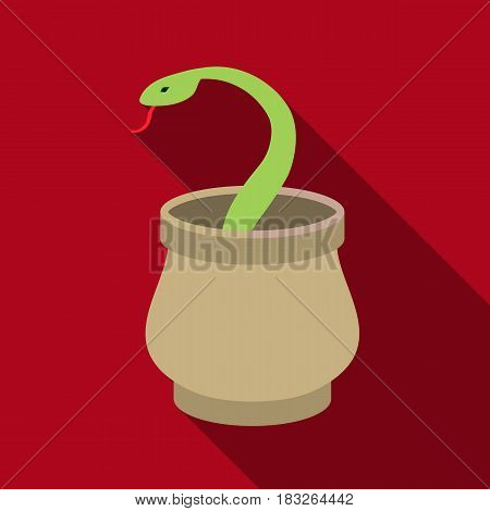 Snake in basket icon in flat style isolated on white background. Arab Emirates symbol vector illustration.