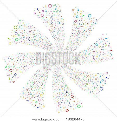 Confetti Stars fireworks swirl rotation. Vector illustration style is flat bright multicolored iconic symbols on a white background. Object whirl created from random design elements.