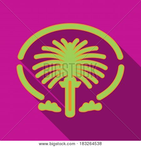 The Palm Jumeirah icon in flat style isolated on white background. Arab Emirates symbol vector illustration.