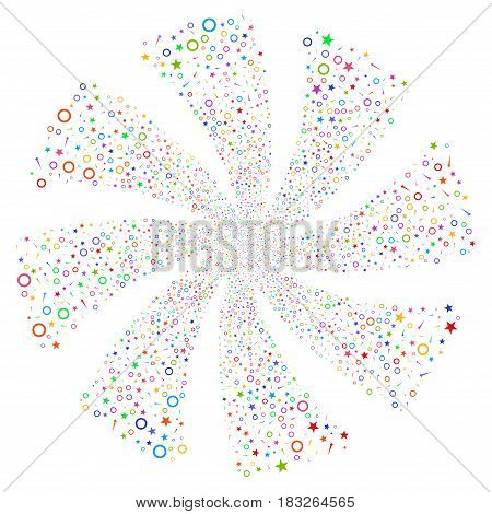 Confetti Stars fireworks swirl rotation. Vector illustration style is flat bright multicolored iconic symbols on a white background. Object whirl done from random icons.