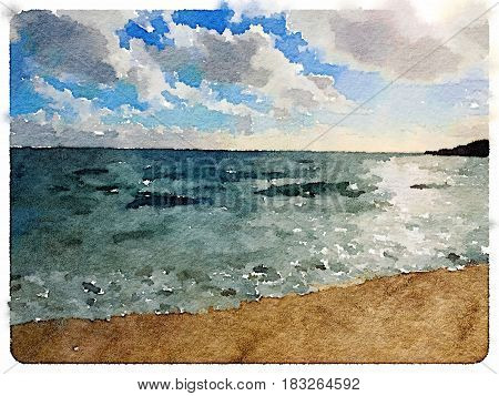 Digital watercolor painting of a beach and the sea in Sesimbra in Portugal at dusk with the sun going down in the sky. With space for text.