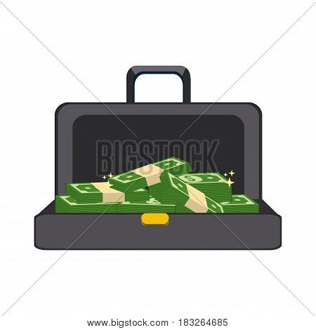 suitcase with green bill money inside, vector illustration