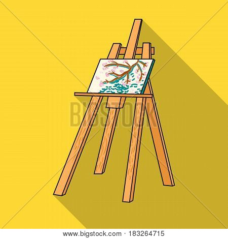 Easel with masterpiece icon in flat style isolated on white background. Artist and drawing symbol vector illustration.