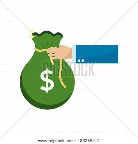 green bag money in the hand person, vector illustration