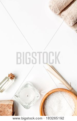 Aromatherapy SPA set with salt and natural oil on white background top view mockup