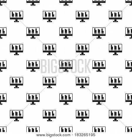 Business graph at computer screen pattern seamless in simple style vector illustration