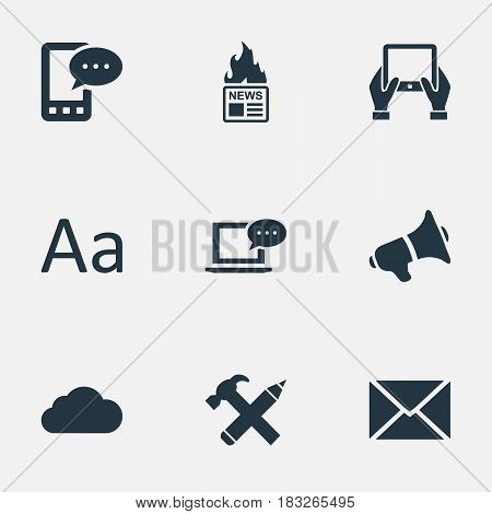 Vector Illustration Set Of Simple User Icons. Elements Overcast, Cedilla, Loudspeaker And Other Synonyms Notepad, Message And Cedilla.