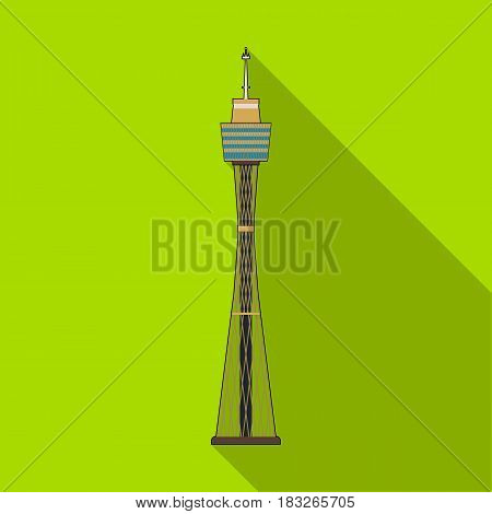 Sydney Tower icon in flat design isolated on white background. Australia symbol stock vector illustration.