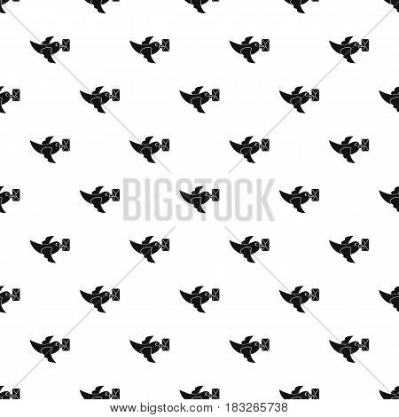 Pigeon fly with mail pattern seamless in simple style vector illustration