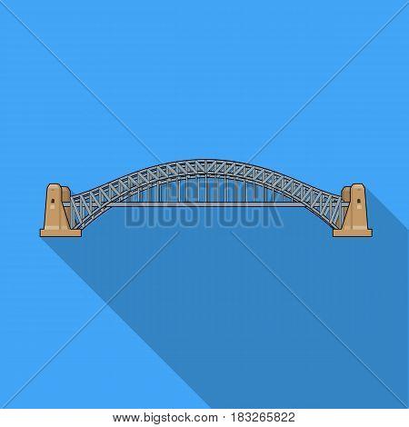 Sydney Harbour Bridge icon in flat design isolated on white background. Australia symbol stock vector illustration.