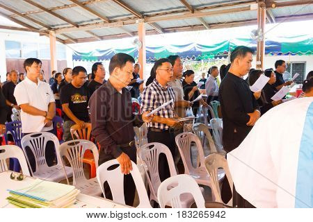 CHIANG RAI THAILAND - APRIL 19 : unidentified asian people participating thai traditional Christian funeral on April 19 2017 in Chiang rai Thailand.