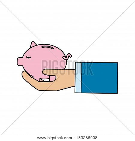 pink save pig in the hand, vector illustration design