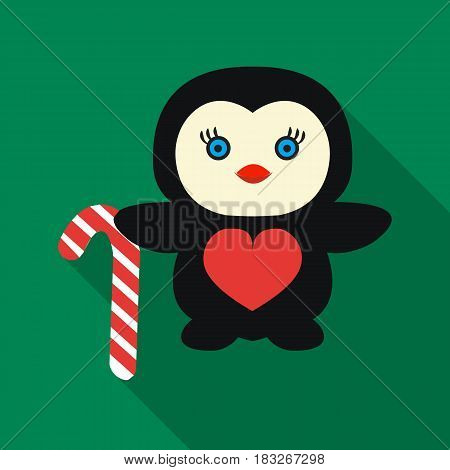 Penguin with candy cane icon in flat style isolated on white background. Christmas Day symbol vector illustration.
