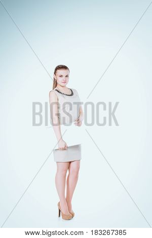 Beautiful woman portrait. Isolated on white background .