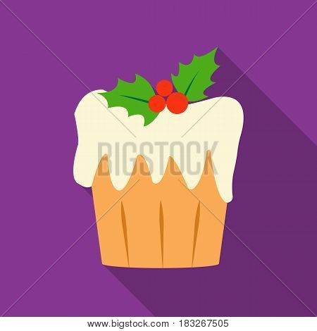 Christmas cake icon in flat style isolated on white background. Christmas Day symbol vector illustration.