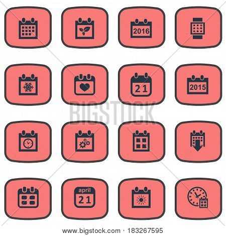 Vector Illustration Set Of Simple Time Icons. Elements 2016 Calendar, Annual, Plant And Other Synonyms Winter, Clock And Annual.