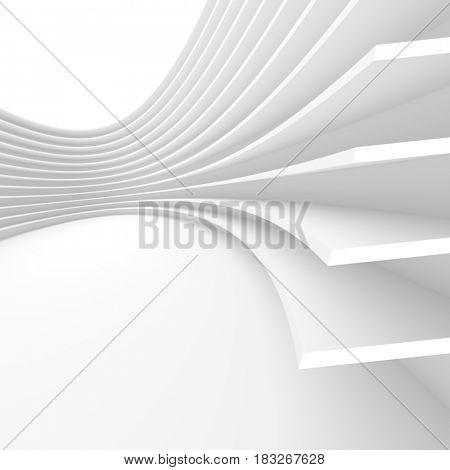 White Architecture Circular Background. Futuristic Interior Design. 3d Rendering