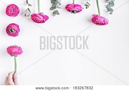 floral concept with pink ranunculus flowers on white desk background top view mock-up